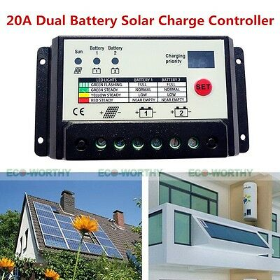 20A Solar Panel PWM Dual Battery Charge Controller Regulator 12V/24V RV Boat