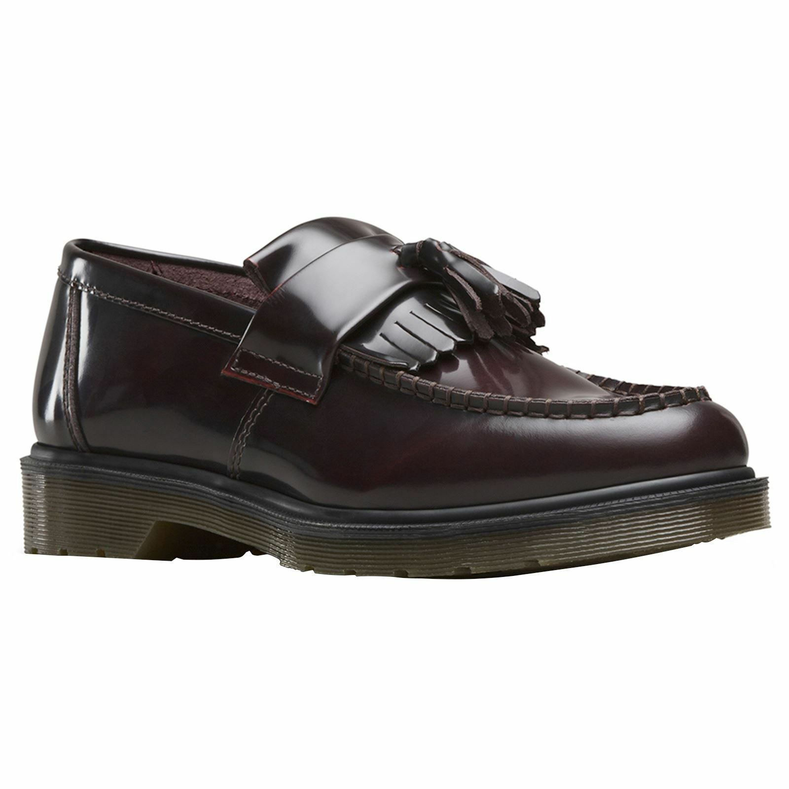 Dr.Martens Adrian Cherry Red Mens Leather Loafers Tassel Slip-on shoes