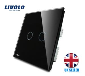 Livolo Standard Royaume-Uni Wall Switch Touch Interrupteur De Lumière 2 Gang 1Way Noir