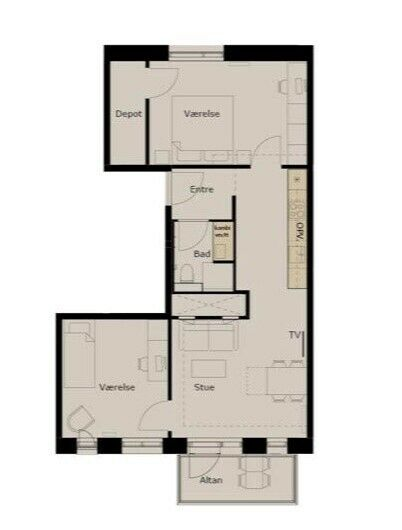 2300 3 vær. lejlighed, 82 m2, lejeperiode ubegrænset