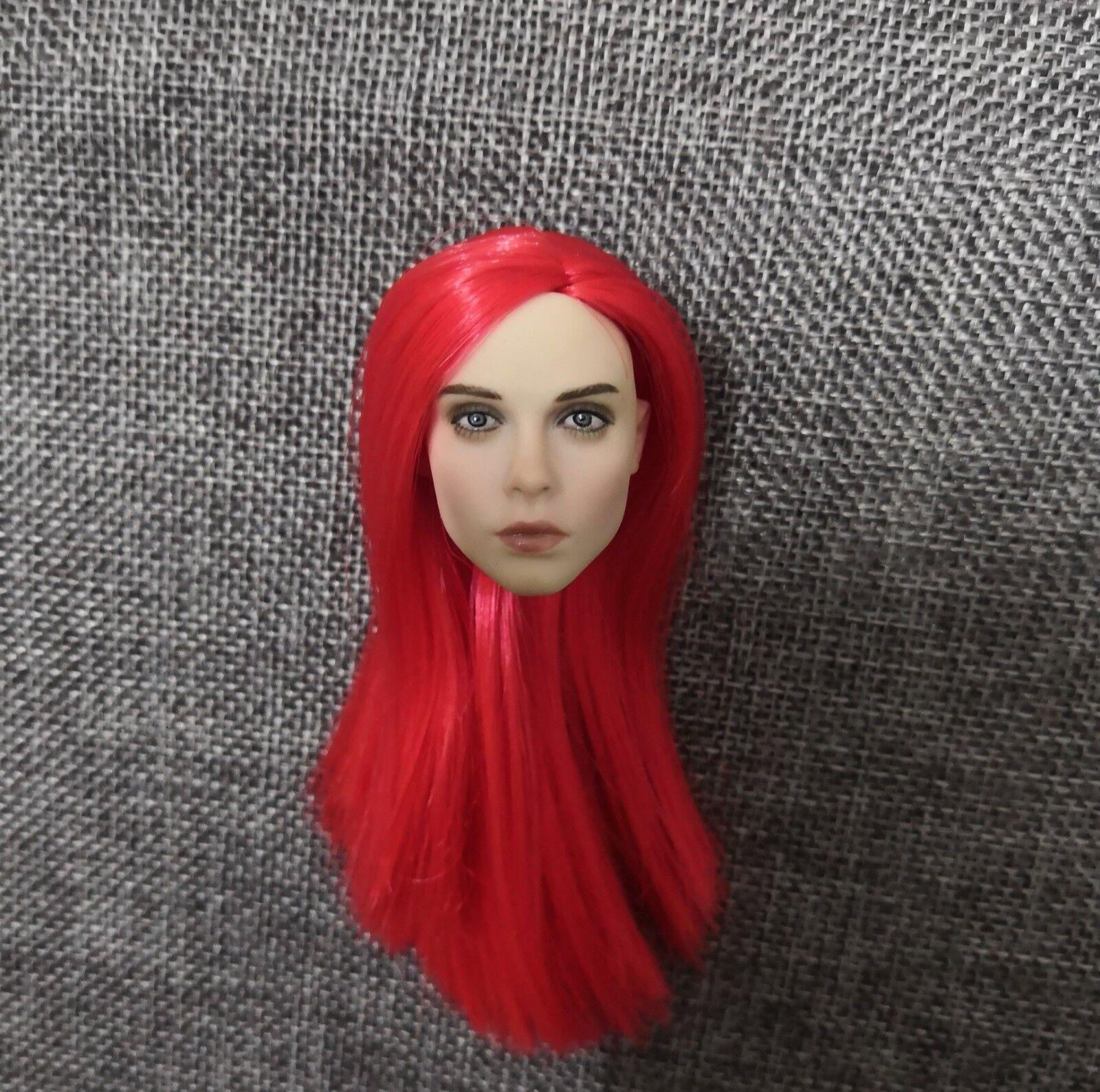 1   6 rote haare kopf sculpt geschnitzt modell passen 12  phicen weiblichen figur körper spielzeug