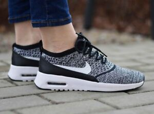 15a04ce5fcfd9 WOMENS NIKE AIR MAX THEA ULTRA FLYKNIT OREO Black White  881175 001 ...