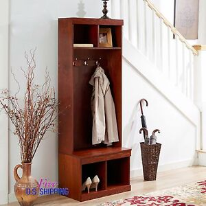 Image is loading Entryway-Wooden-Hall-Tree-Shoe-Storage-Bench-Coat- & Entryway Wooden Hall Tree Shoe Storage Bench Coat Rack Metal Hooks ...