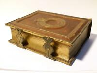 Antique CDV Leather Bound Gilt Album Brass Clasps & 24 B&W 1930 - 50's Photos