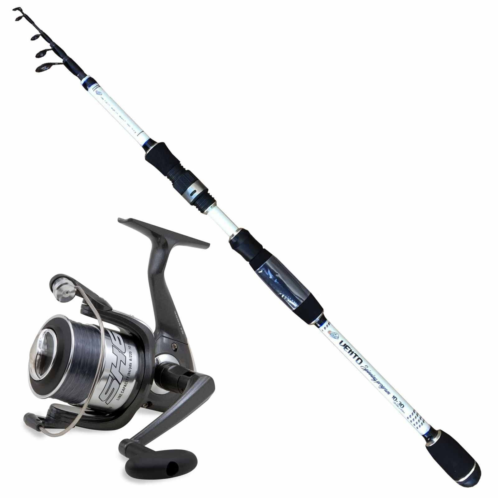 KP3452 Kit Pesca Spinning Canna Vento 2,40 m 10-30 Gr + Mulinello SK6 3000 PP