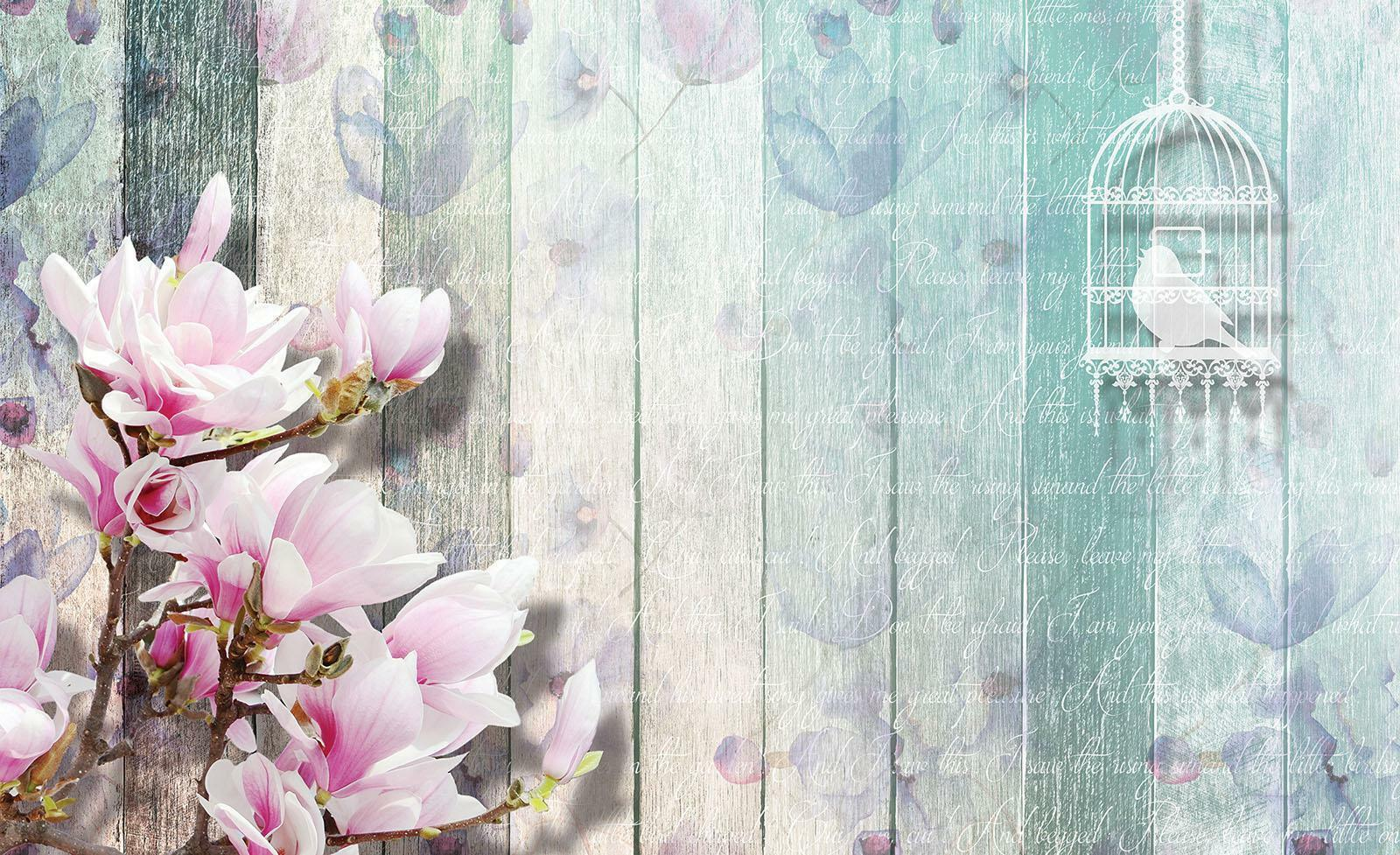 Photo Wallpaper Mural  20173_P Floral Pattern and Colourful Planks Abstract Imit