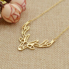 Gold Silver Hollow Out Origami Antler Pendant Necklace Geometric Jewelry