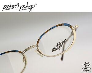 Robert Rudger 1930 244 12 Vintage 90s blue & silver half rim oval eyeglasses