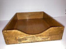 Vintage Dovetail Wood Letter File Desk Paper Tray In Amp Out Box Felt Bottom