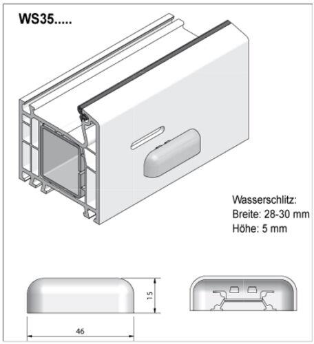 L/' eau fente casquettes 5 pcs pour pvc-fenêtre Anthracite ws35 pour schüco etc