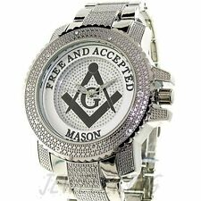 MENS ICED OUT ICE NATION SILVER FREEMASON MASON MASONIC WATCH WITH METAL BAND