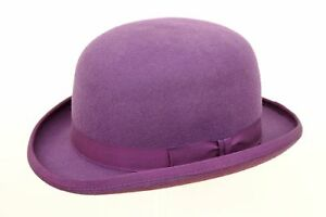 NEW Classic Vintage Style Formal Event Business Wool Purple Bowler Hat S M L XL