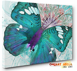 Image Is Loading Abstract Butterfly Canvas Print Wall Art Blue Green