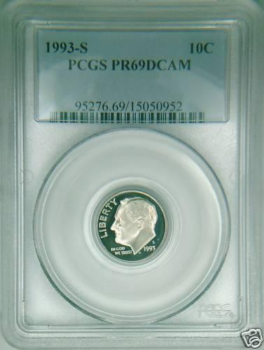 1993-S PCGS PR69DCAM proof Roosevelt dime deep cameo