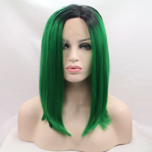 Black-Root-Lace-Front-Wig-Hair-Short-Bob-Bunny-Women-039-s-Use-Ombre-Wigs-Dark-Green