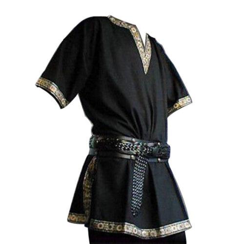Medieval Renaissance men Tunic Viking Saxon short sleeve shirt Halloween Cosplay
