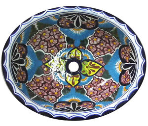 #141 LARGE BATHROOM SINK 21X17 MEXICAN CERAMIC HAND PAINT DROP IN UNDERMOUNT
