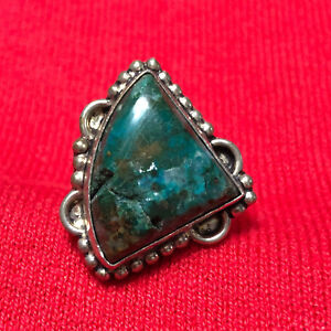 Details about Sterling Silver 925 Triangle Green Agate Women's Cocktail  Ring Size 7