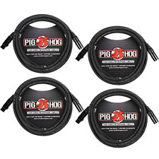 4-Pack of Pig Hog PHM10 Microphone XLR Recording Live Sound Mic Cables - 10 ft