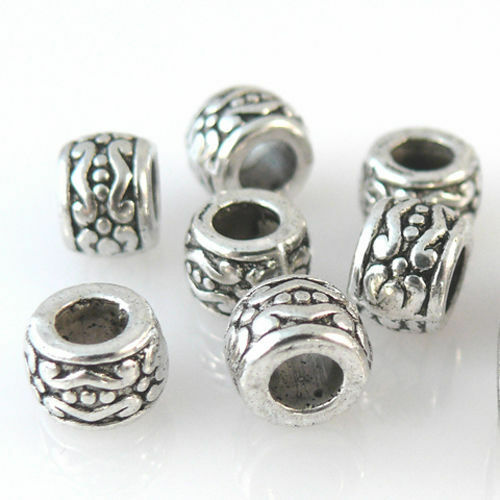 10 Metallperlen Perlen 7mm Spacer Großlochperlen altsilber Metall Bastelperlen
