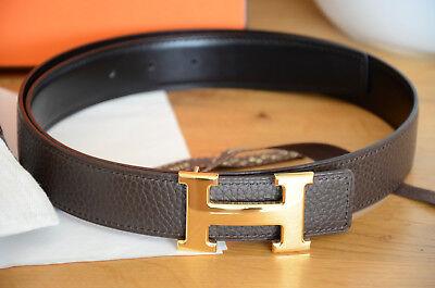 Gelernt 32mm HermÈs Original Coffee Belt Wendegürtel Gürtel Gold Glanzend Schnalle Gr 75 Knitterfestigkeit