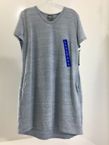32-Degrees-Cool-Women-s-Short-Sleeve-V-Neck-Jersey-Dress-W-Pockets-Blue-L-NWT