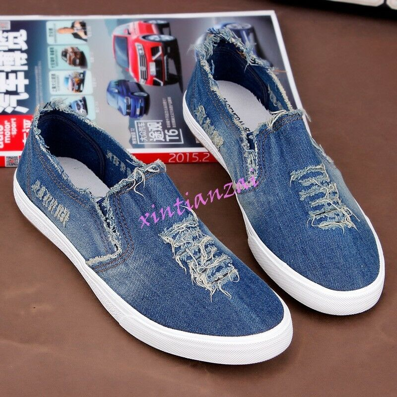 New Men Canvas Comfort Slip On Denim Loafer Ripped Loafers shoes Flat Leisure