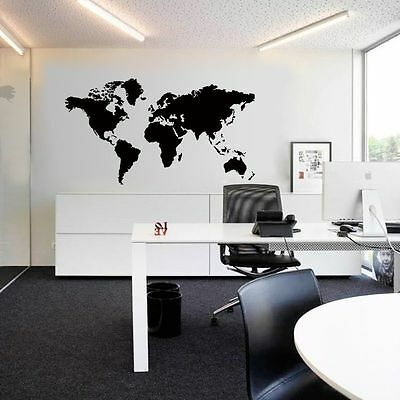 Large World Map Removable Vinyl Wall Sticker Decal Mural Art Home Office Decor
