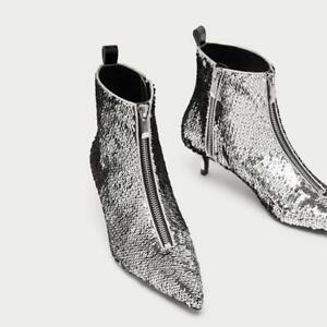 Womens Sequin Ankle Boots Pointy Toe