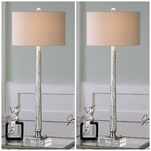 Two Ribbed Mercury Glass Table Lamp Linen Shade Brushed