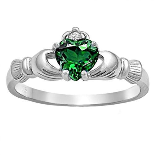 Sterling Silver 0.765ct Heart-cut Emerald-Ice CZ Dublin Claddagh Ring