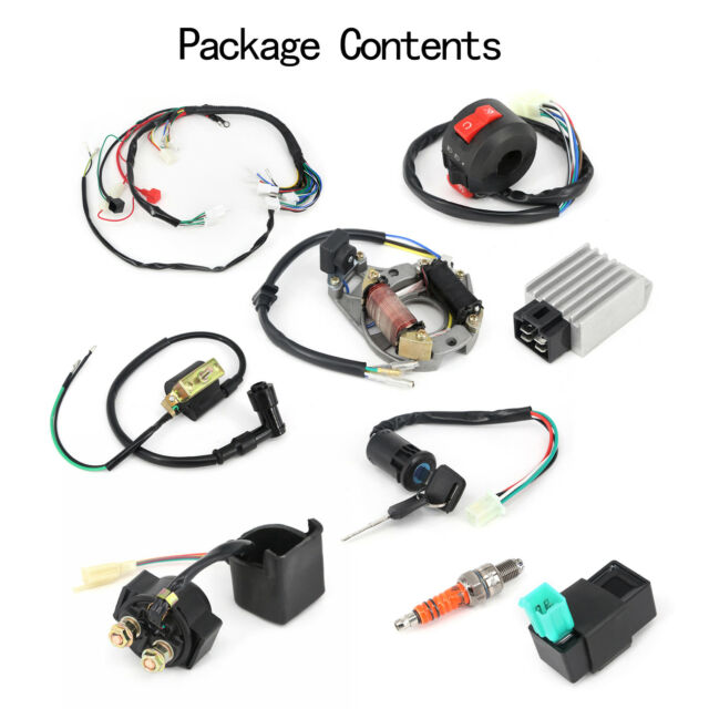 50 70 90 110 125cc atv full electric wiring harness coil cdi stator assembly kit ATV Tail Light Wiring