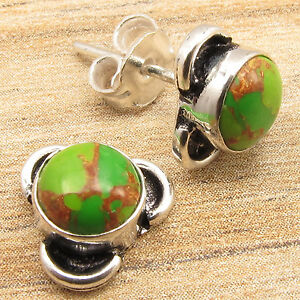 0-99-CENTS-AUCTION-925-Silver-Plated-GREEN-COPPER-TURQUOISE-Stud-Earrings