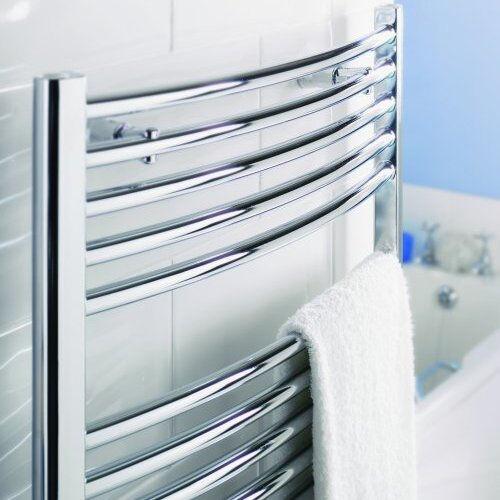 500 mm Courbé Chrome Chauffé Porte-serviettes radiateur, 25 mm