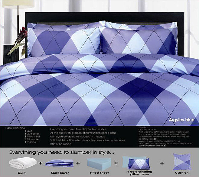 8 Pce - ARGYLE Blau Quilt Cover + 200gsm Quilt + FITTED + 4 P CASES + CUSHION