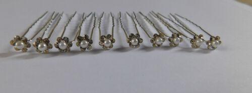 10 x cristalli Pearl Diamante Fiore Da Cerimonia Da Sera Argento Capelli Pin Grip Clip