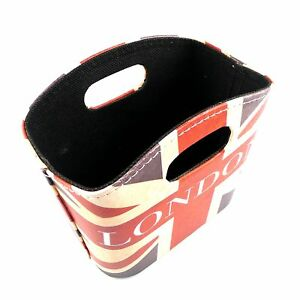 Union-Jack-Storage-Basket-PU-Leather-Handles-Box-British-Style-Desk-Organizers
