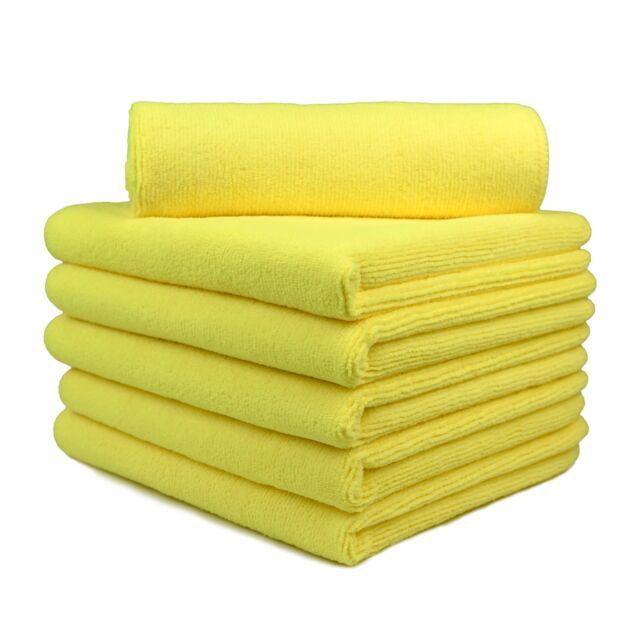 "6 Pcs Microfiber Towel House Cleaning Car Detailing Cloths Rag 16""x16"" Yellow"