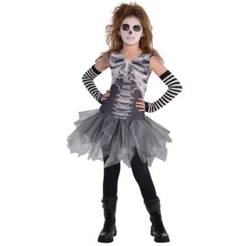 Bambine Gotico Nero /& Bone Skeleton Tutu Vestito Costume Di Halloween Età 6-10