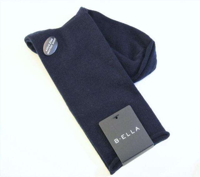 B. Ella Ladies 85% Extra Fine Merino Wool Blend Crew Socks Shelly Navy Blue  NEW