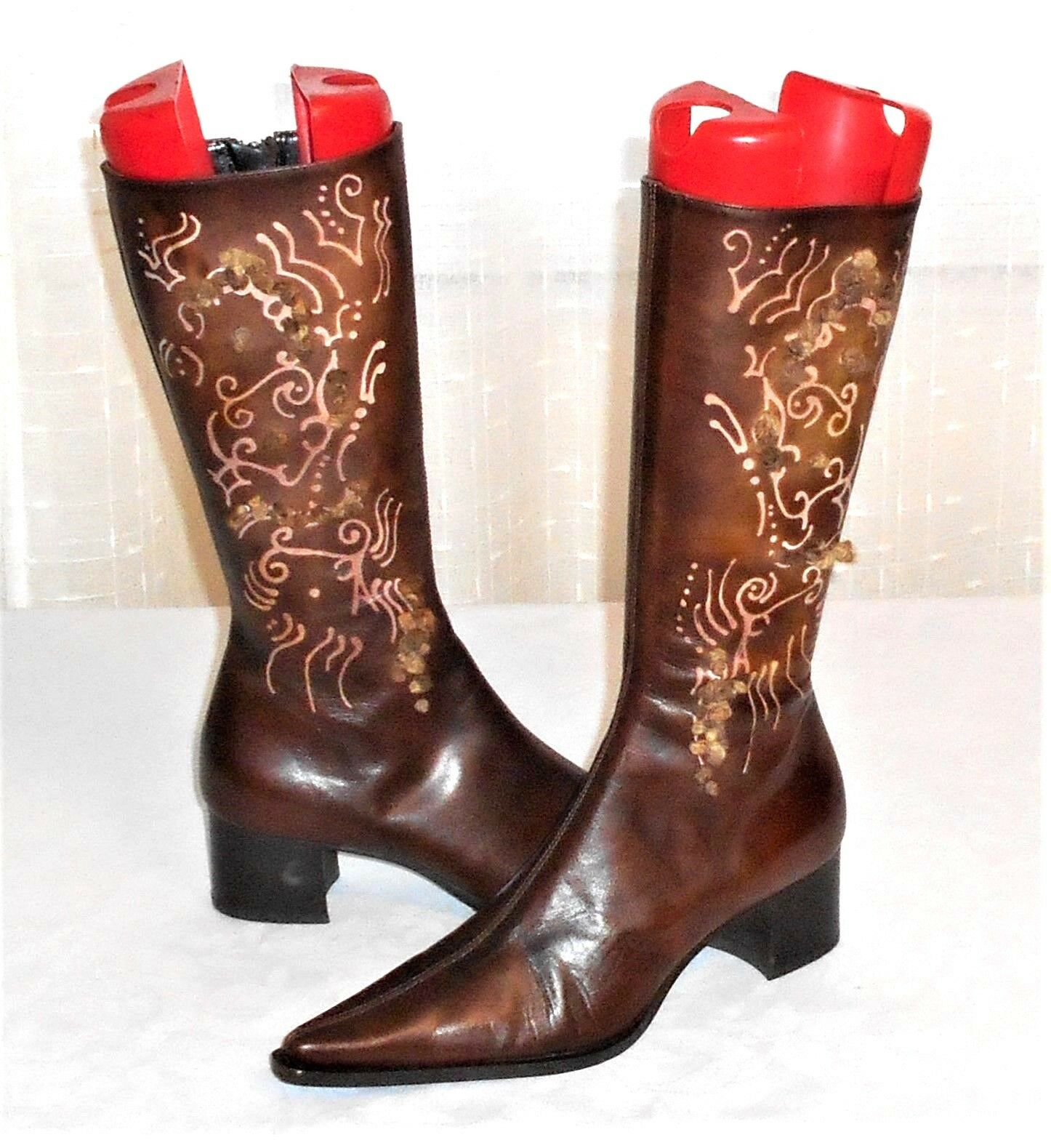 Caiman Brand Brown Leather Point Toe Zip Fashion Boot Made in Italy Euro 36.5