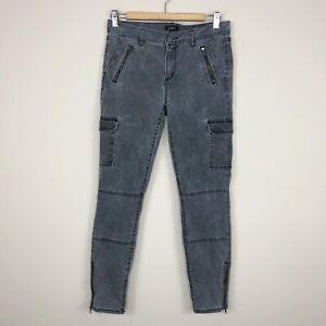 LOFT Ann Taylor Women's Gray Moto Skinny Cargo Pants Zipper Ankle Stretch Size 4