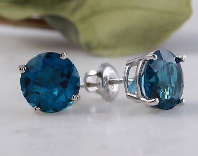 4.50 Carats Natural Swiss Blue Topaz 14K Solid White Gold Stud Earrings