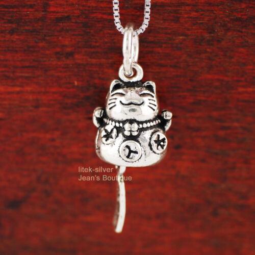1x 925 Sterling Silver Lucky Cat Maneki-neko Pendant Charm no chain DIY A2063