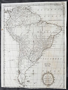 Map Of America Ebay.Details About 1777 Thomas Kitchin Large Antique Map Of South America