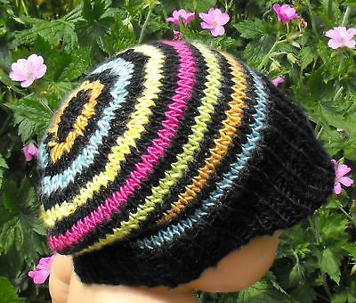 PRINTED KNITTING INSTRUCTIONS-STRIPE TOPKNOT SLOUCH HAT KNITTING PATTERN
