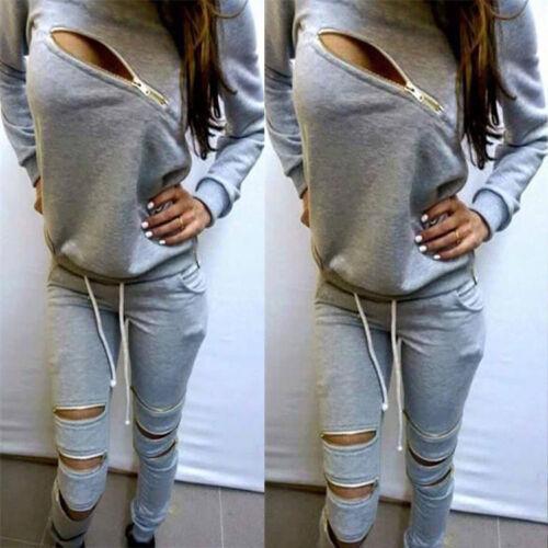 Ladys 2Pcs Tracksuit Hoodies Sweatshirt Pants Sets Sport Wear Zipper Casual Suit