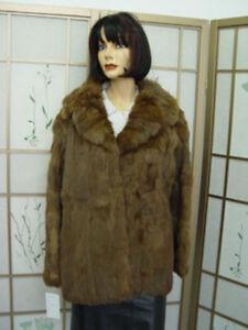 Sz Medium Kvinde Brown 10 12 Canadian Mint Fur Frakke Jacket Rabbit Kvinder 8nA7F