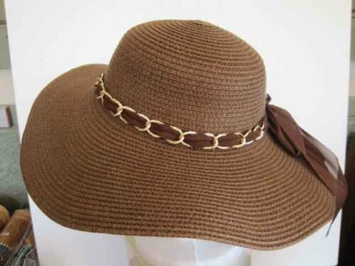 """Ladies Wide 5/"""" Floppy Brim Dk Brown Hat colorful band Woven Polyester"""