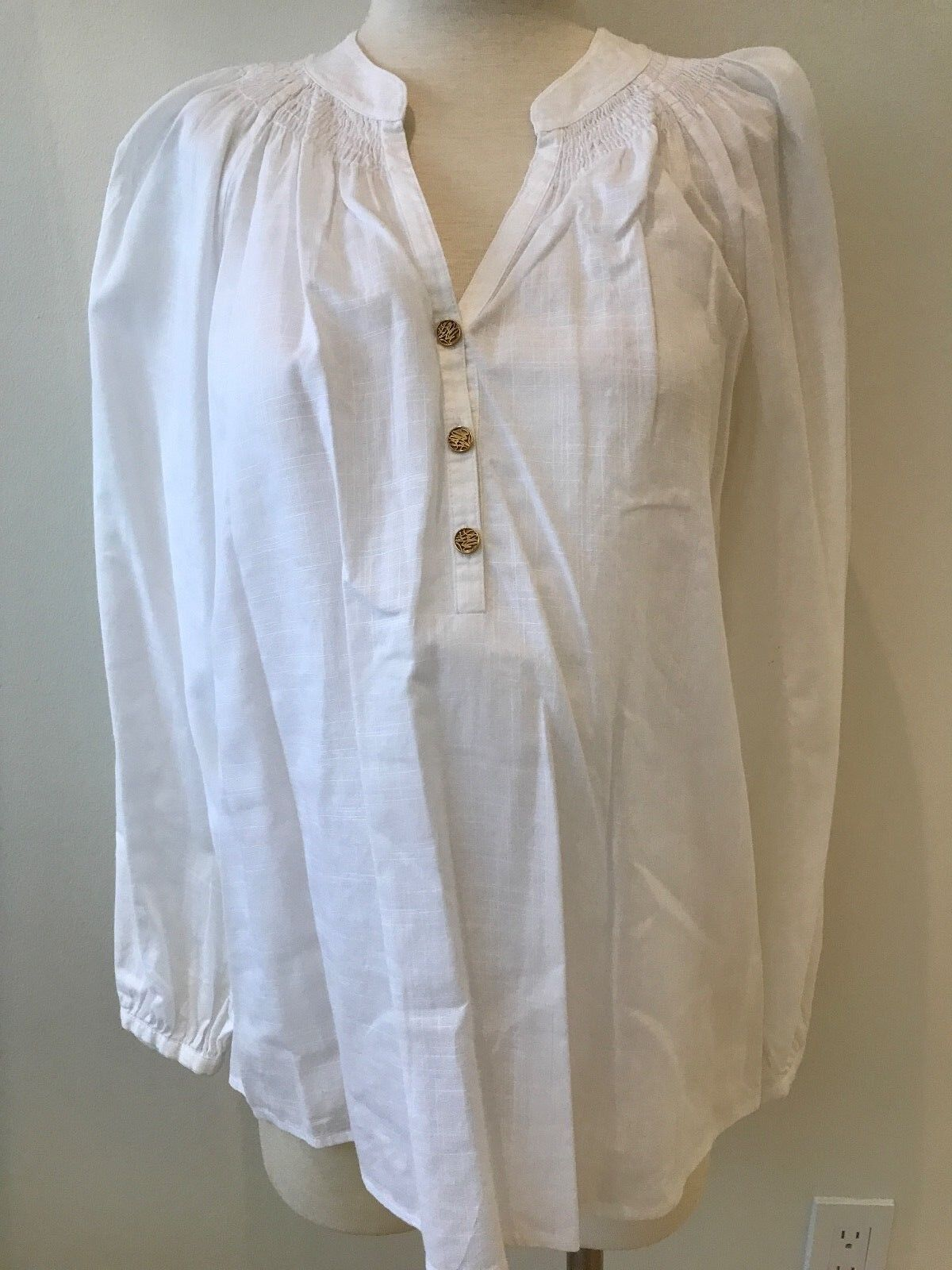 Lilly Pulitzer Elsa Cotton Weiß Popover Top EUC 6 Long sleeves Gold Buttons
